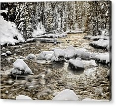 Winter River Acrylic Print by Leland D Howard