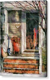Winter - Rosebud And Shovel - Painted Acrylic Print by Mike Savad