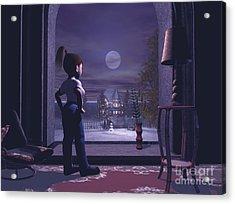 Winter Scene Threw A Window Acrylic Print by John Junek