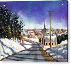 Winter Scene With Church Acrylic Print