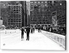 Winter Skating At Bryant Park Acrylic Print by John Rizzuto
