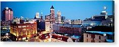 Winter Skyline At Night, Milwaukee Acrylic Print by Panoramic Images