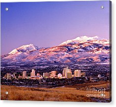 Winter Skyline Of Reno Nevada Acrylic Print