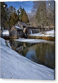 Winter Snow At Mabry Mill Acrylic Print