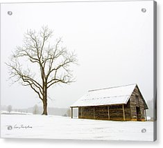 Winter Storm On The Farm Acrylic Print by George Randy Bass