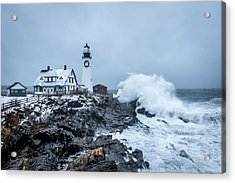Winter Storm, Portland Headlight Acrylic Print