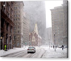 Winter Storm Stella Hitting The Boston State Street Acrylic Print by Toby McGuire