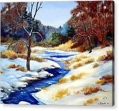 Winter Stream Acrylic Print by Laura Tasheiko