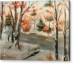 Winter Stream Acrylic Print by Roseann Gilmore