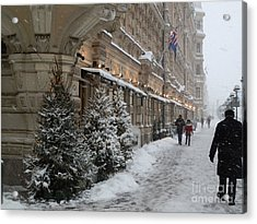 Winter Stroll In Helsinki Acrylic Print by Margaret Brooks