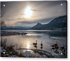 Winter Sugarloaf With Geese II Acrylic Print