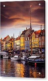 Winter Sun Over Nyhavn Copenhagen  Acrylic Print