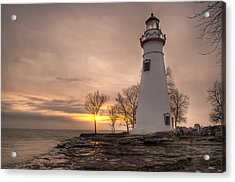 Winter Sunrise At Marblehead Lighthouse Acrylic Print