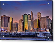 Winter Sunrise Over Downtown Manhattan Acrylic Print by Val Black Russian Tourchin
