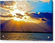 Winter Sunrise Over Miami Beach Acrylic Print by William Wetmore