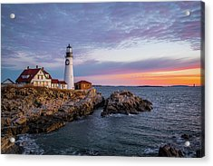 Winter Sunrise Over Portland Head Light Acrylic Print