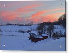 Winter Sunset At Jenne Farm Vermont Acrylic Print by John Burk