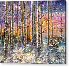 Dylan's Snowman - Winter Sunset Landscape Impressionistic Painting With Palette Knife Acrylic Print