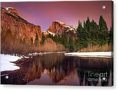 Winter Sunset Lights Up Half Dome Yosemite National Park Acrylic Print