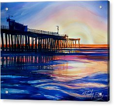 Winter Sunset On Pismo  Pier Acrylic Print by Therese Fowler-Bailey