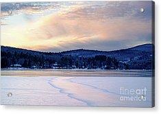 Winter Sunset On Wilson Lake In Wilton Me  -78091-78092 Acrylic Print
