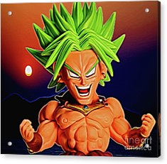 Acrylic Print featuring the digital art Sunset Ss Broly by Ray Shiu