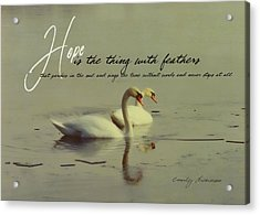 Winter Swans Quote Acrylic Print by JAMART Photography