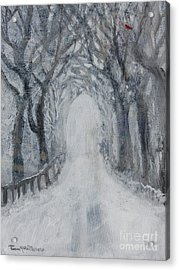 Acrylic Print featuring the painting Winter Tree Tunnel by Robin Maria Pedrero