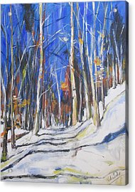 Acrylic Print featuring the painting Winter Trees by Debora Cardaci