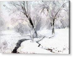 Acrylic Print featuring the digital art Winter Trees by Francesa Miller