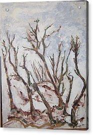 Winter Trees Acrylic Print by Helene  Champaloux-Saraswati