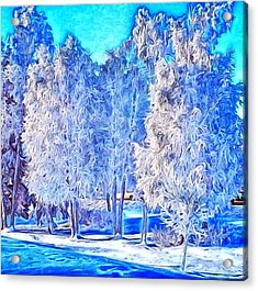 Acrylic Print featuring the digital art Winter Trees by Ron Bissett