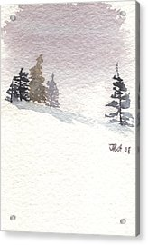 Winter Trees With Purple Sky Acrylic Print by Jan Anderson