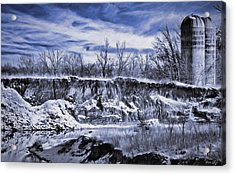 Winter Twin Silos Acrylic Print