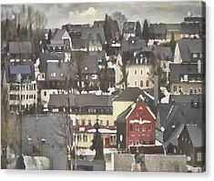 Winter Village With Red House Acrylic Print