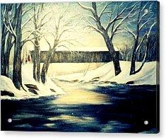 Winter Walk At Bennett's Mill Bridge Acrylic Print by Gail Kirtz
