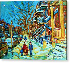 Winter  Walk In The City Acrylic Print by Carole Spandau