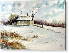 Winter Washday Acrylic Print by Sam Sidders