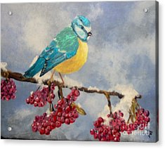 Acrylic Print featuring the painting Winter Watch by Saundra Johnson