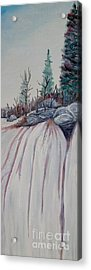 Acrylic Print featuring the painting Winter Waterfall by Marilyn  McNish