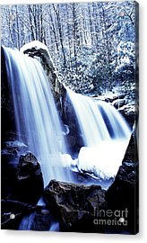 Winter Waterfall Acrylic Print by Thomas R Fletcher