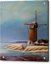 Winter Windmill Acrylic Print by Nick Diemel