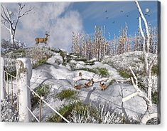 Winter Wonderland Bunnies Acrylic Print by Mary Almond