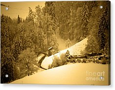 Acrylic Print featuring the photograph Winter Wonderland In Switzerland - Up The Hills by Susanne Van Hulst
