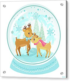 Winter Wonderland Snow Globe Acrylic Print by Little Bunny Sunshine