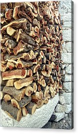 Winter Woodpile Acrylic Print