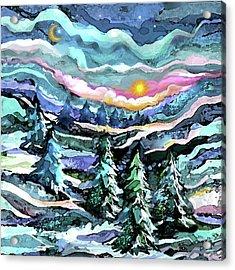 Winter Woods At Dusk Acrylic Print