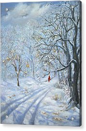 Acrylic Print featuring the painting Winter's Guest Jockey Hollow New Jersey by Katalin Luczay