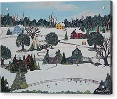 Acrylic Print featuring the painting Winters Last Snow by Virginia Coyle