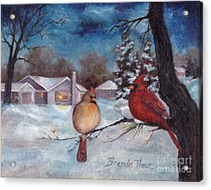 Acrylic Print featuring the painting Winters Serenity by Brenda Thour